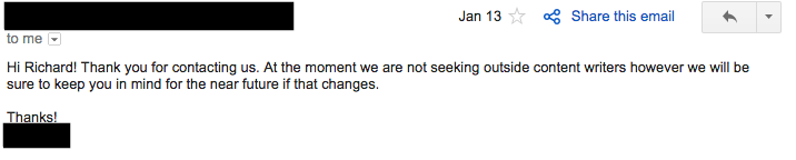 Response 1 to cold email